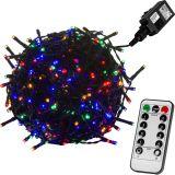 Vianočné LED osvetlenie 5 m - farebná 50 LED + ovládač - zelený kábel
