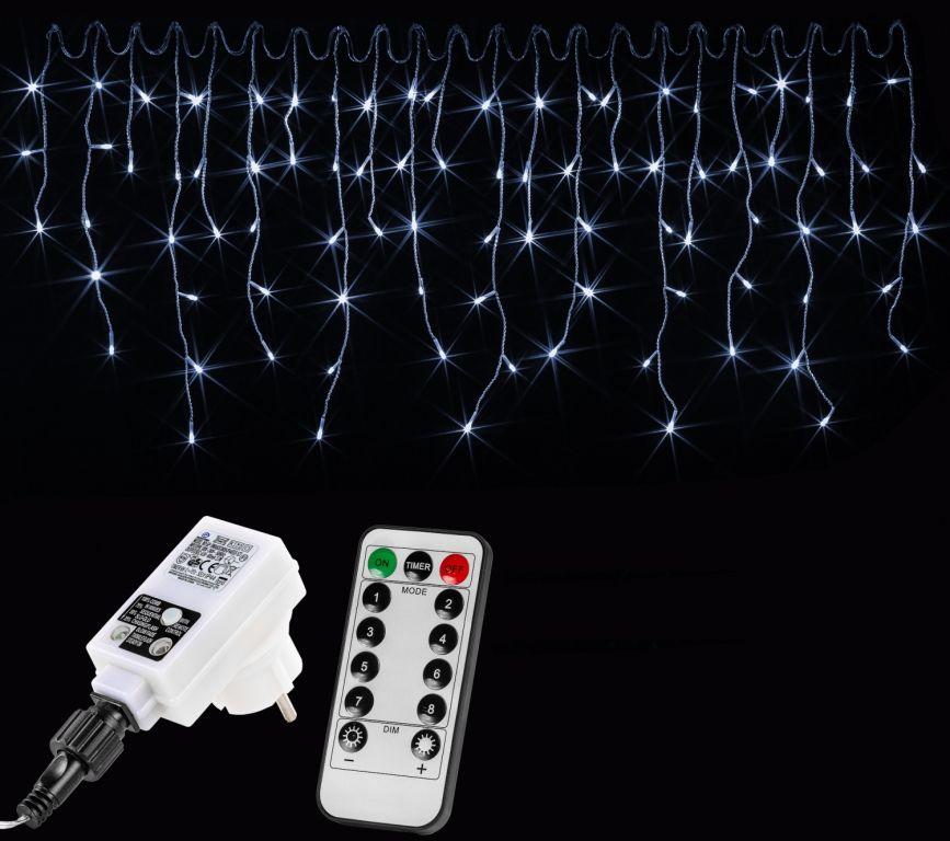 Vianočný svetelný dážď 200 LED studená biela - 5 m + ovládač