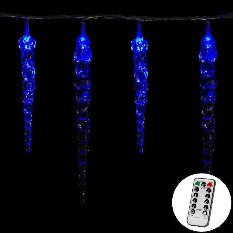 Vianočné dekoratívne osvetlenie - cencúle - 40 LED modrá + ovládač