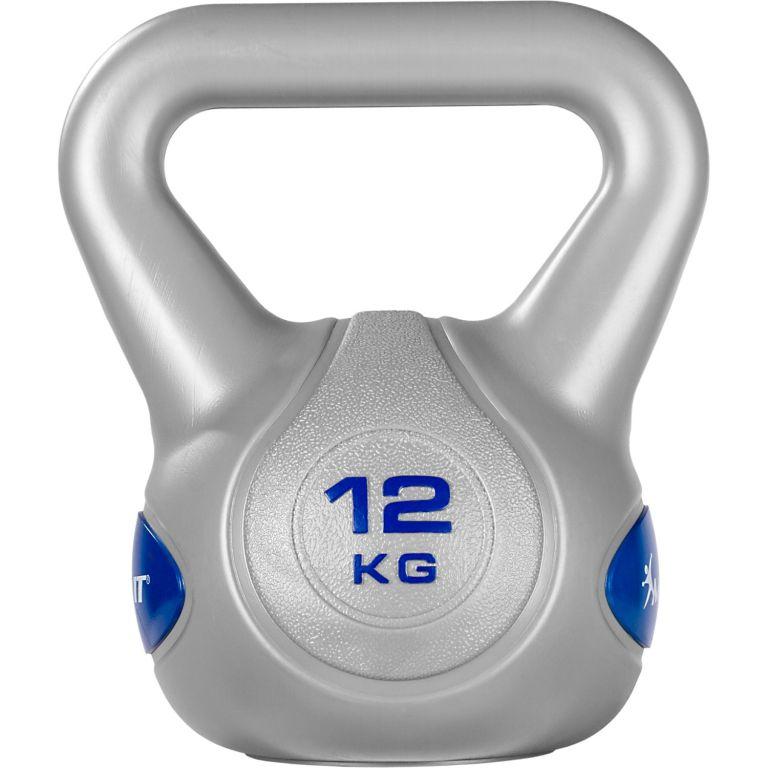 MOVIT Kettlebell činka - 12 kg, sivá/tmavomodrá