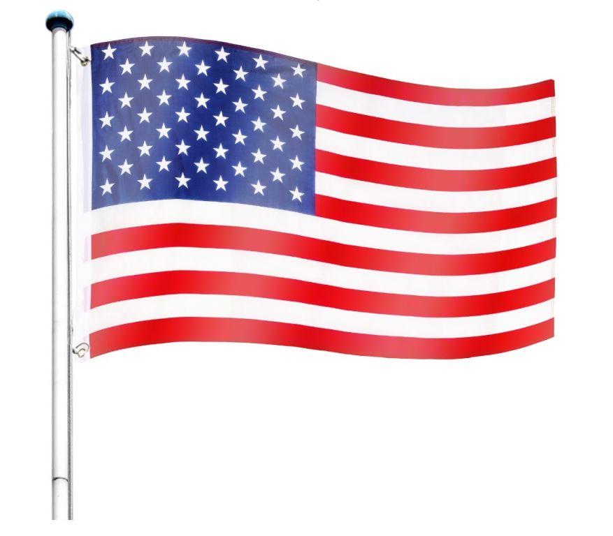Vlajkový stožiar vrátane vlajky USA - 650 cm
