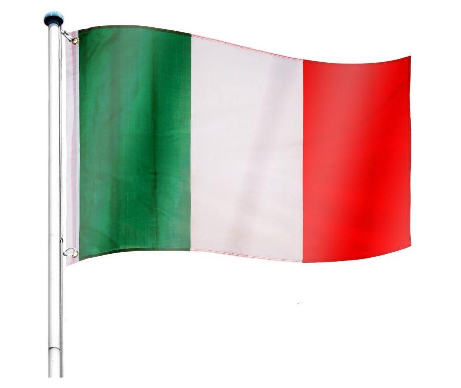 Vlajkový stožiar vrátane vlajky Taliansko - 650 cm