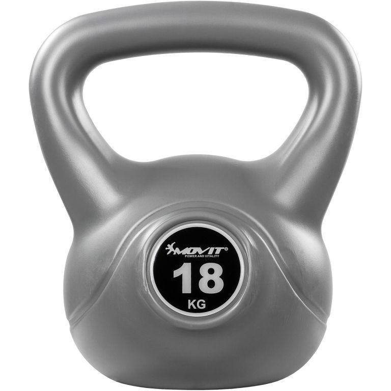 MOVIT Kettlebell činka - 18 kg, sivá/čierna