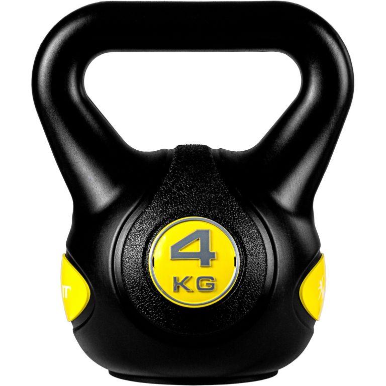 MOVIT Kettlebell činka - 4 kg, čierna/žltá
