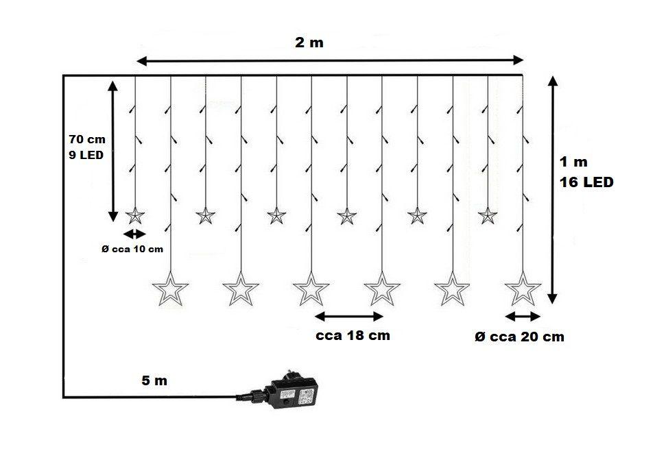 Vianočná reťaz - hviezdy - 150 LED teple/studeno biela