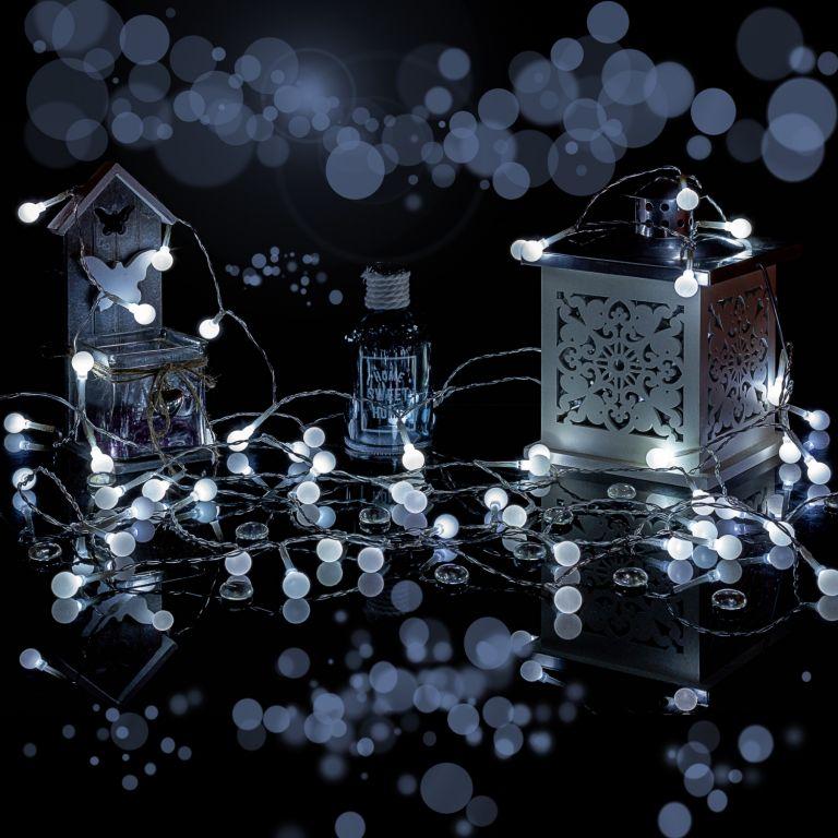 Párty LED osvetlenie 10m - studená biela 100 diód - BATÉRIE
