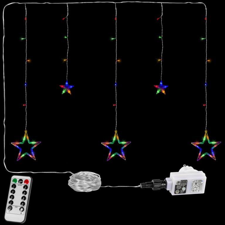 Vianočná reťaz - hviezdy - 61 LED farebná