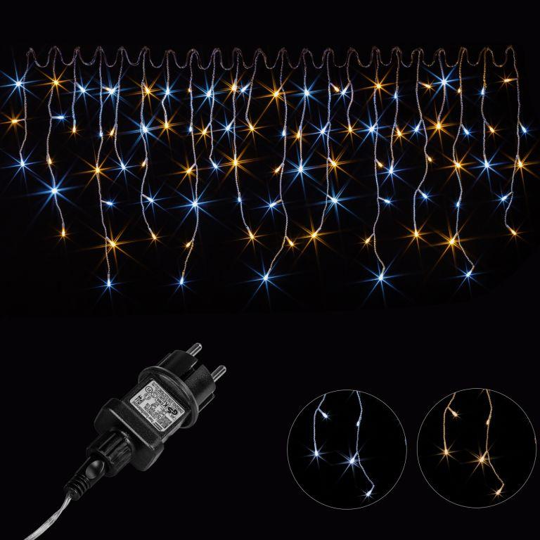 Vianočný svetelný dážď 600 LED teplá/studená biela - 15 m
