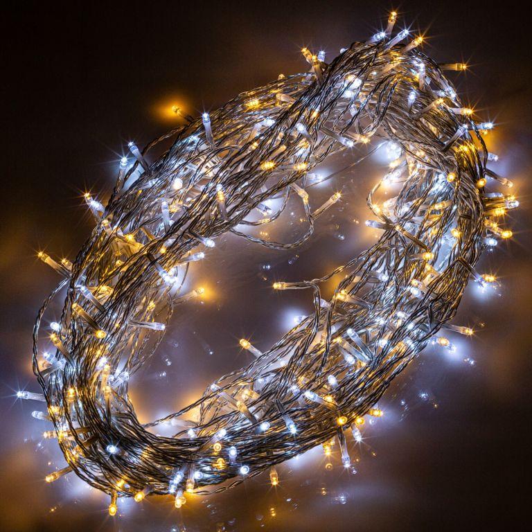 Vianočná reťaz 10m - teple/studeno biela 100 LED na BATÉRIE