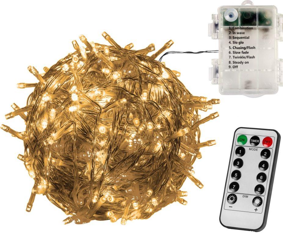 Vianočná reťaz 5m - teplá biela 50 LED na BATÉRIE + ovládač