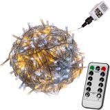 Vianočná reťaz 10 m - teple/studeno biela 100 LED + ovládač