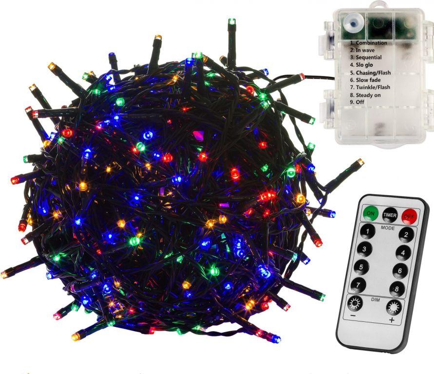 Vianočná reťaz 5 m - farebná 50 LED na BATÉRIE + ovládač