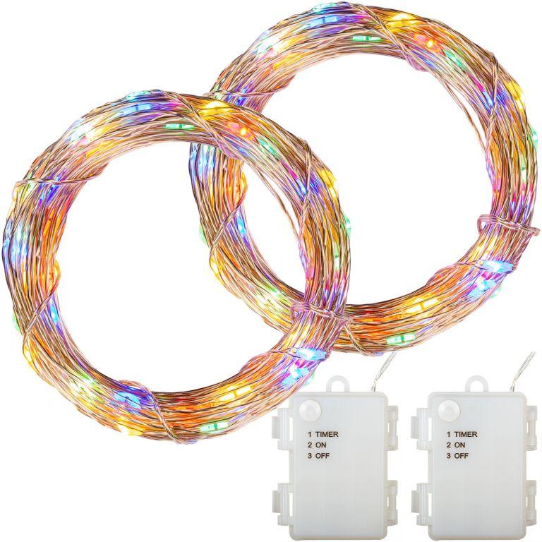 Sada 2 ks svetelných drôtov, 50 LED, farebná