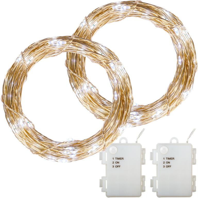 Sada 2 kusov svetelných drôtov - 100 LED, studená biela