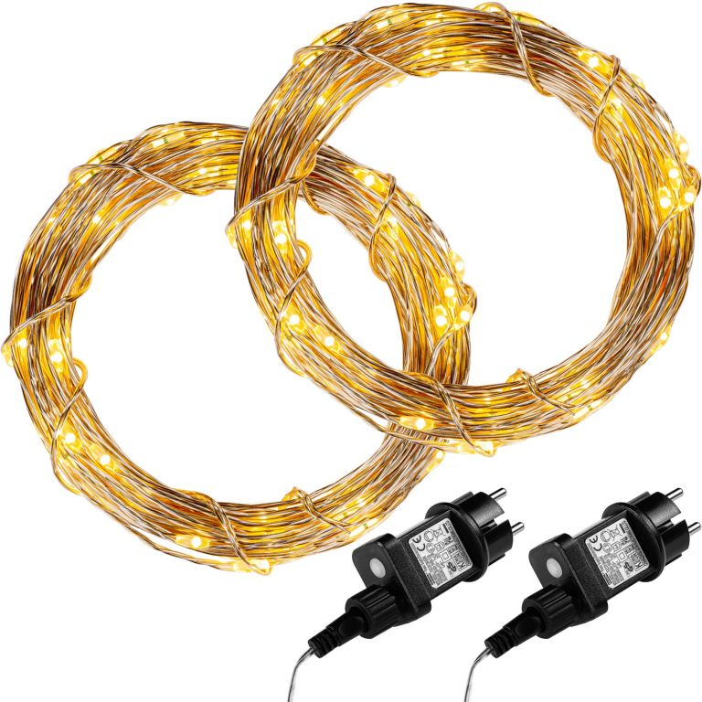 Sada 2 kusov svetelných drôtov 50 LED - teple biela