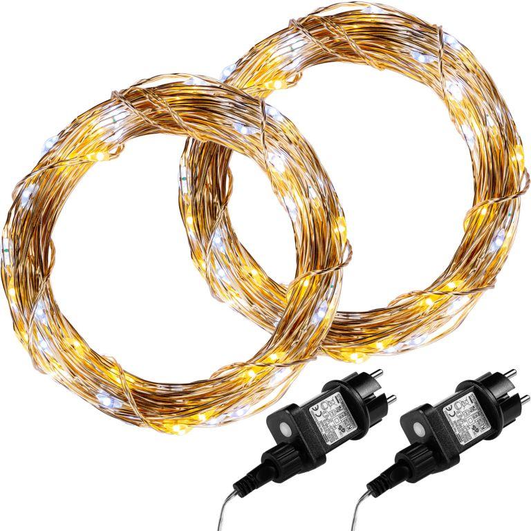 Sada 2 kusov svetelných drôtov 50 LED - teplo/studeno biela
