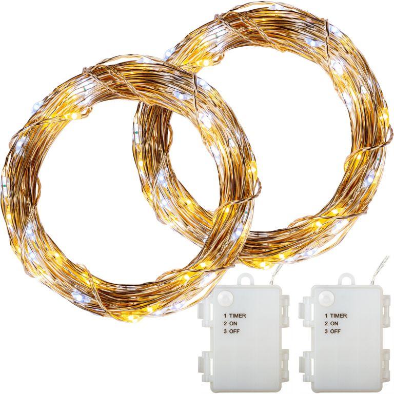 Sada 2 kusov svetelných drôtov 200 LED - teple/studeno biela