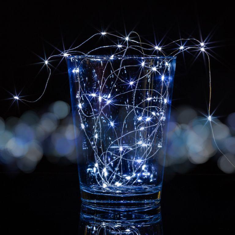 Sada 2 kusov svetelných drôtov 200 LED - studeno biela