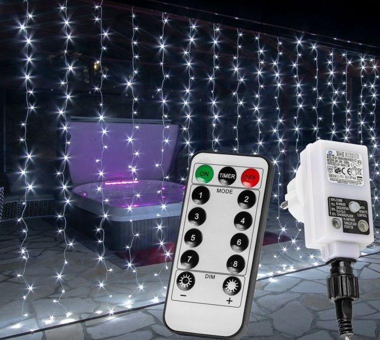 Vianočný záves - 6 x 3 m, 600 LED, studeno biely