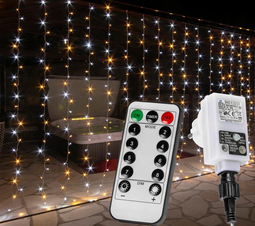 Vianočný záves - 6 x 3 m, 600 LED, teple/studeno biely