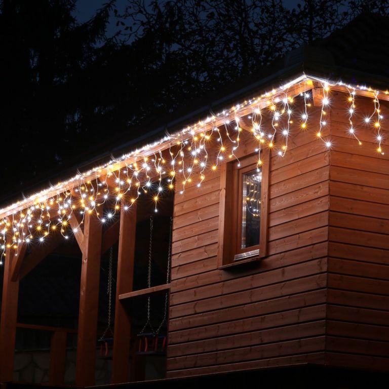 VOLTRONIC svetelný dážď - 600 LED, teplá/studená biela