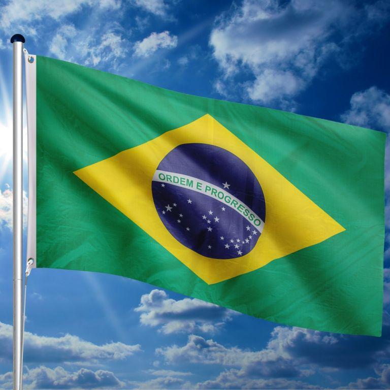Vlajkový stožiar vrátane vlajky Brazília, 650 cm