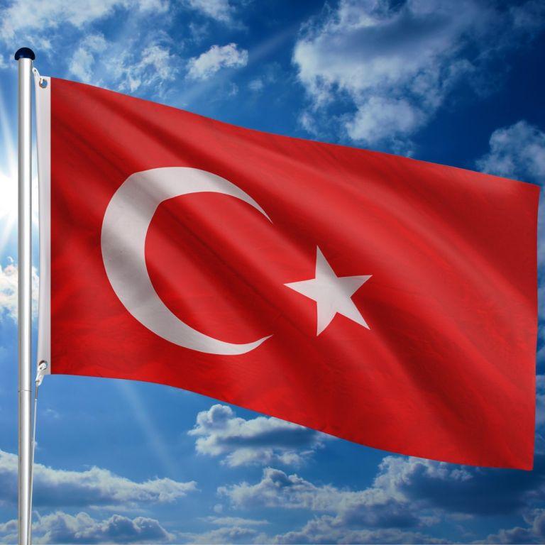 Vlajkový stožiar vrátane vlajky Turecko, 650 cm