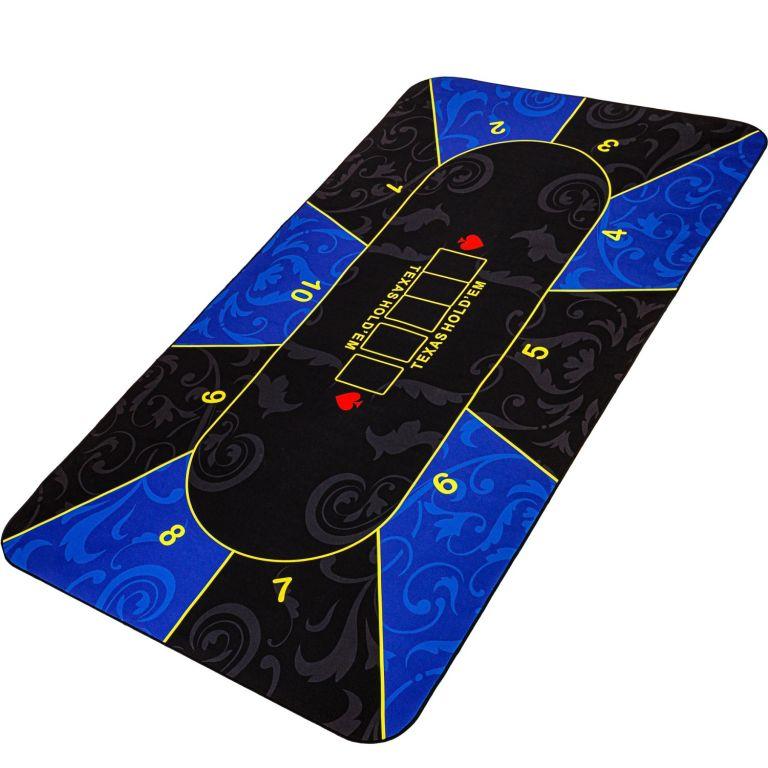 Skladacia pokerová podložka, modrá/čierna, 200 x 90 cm