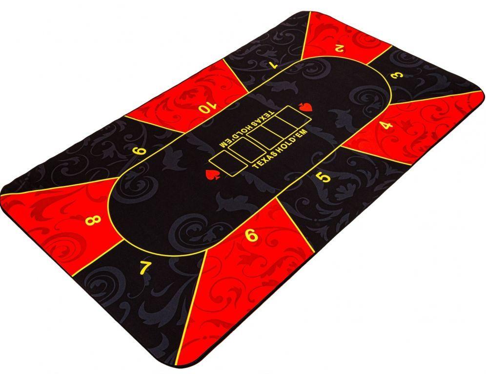 Skladacia pokerová podložka, červená/čierna, 200 x 90 cm