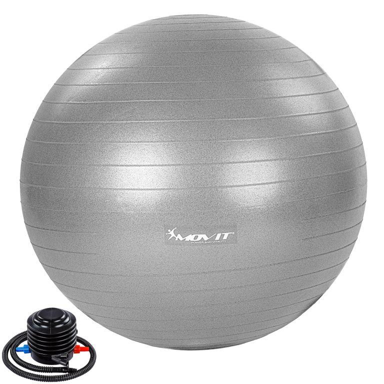 MOVIT Gymnastická lopta s nožnou pumpou, 65 cm, sivá