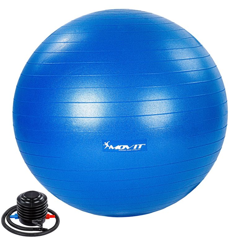 MOVIT Gymnastická lopta s nožnou pumpou, 65 cm, modrá