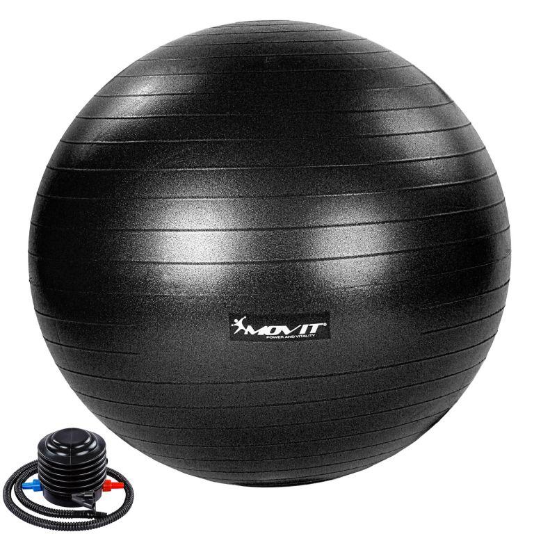 MOVIT Gymnastická lopta s nožnou pumpou, 65 cm, čierna