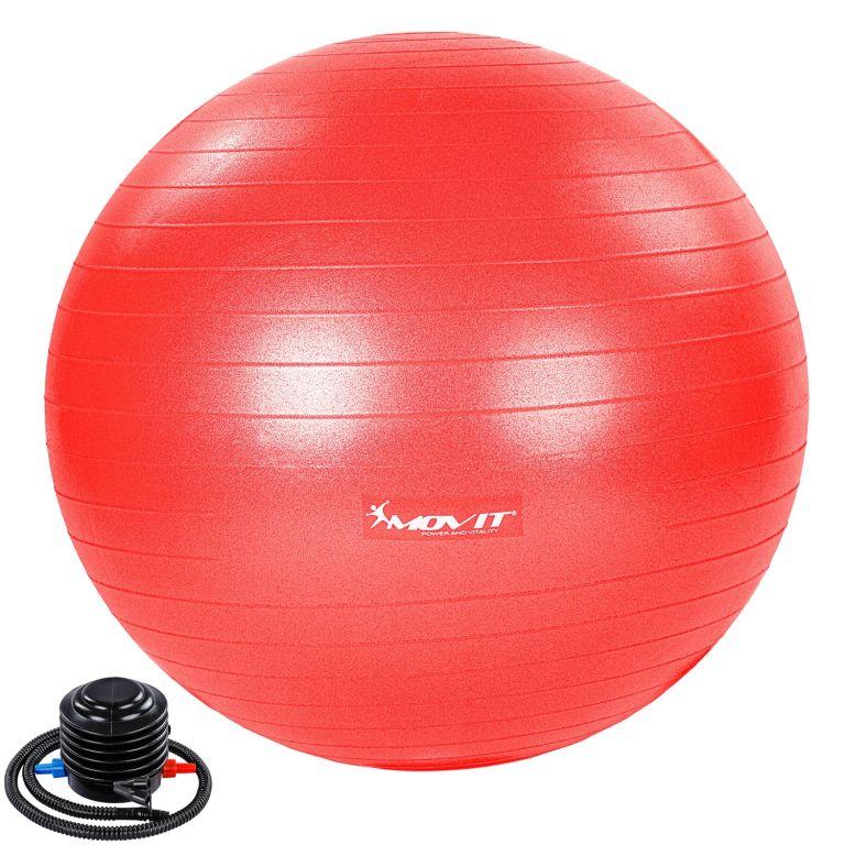 MOVIT Gymnastická lopta s nožnou pumpou, 65 cm, červená