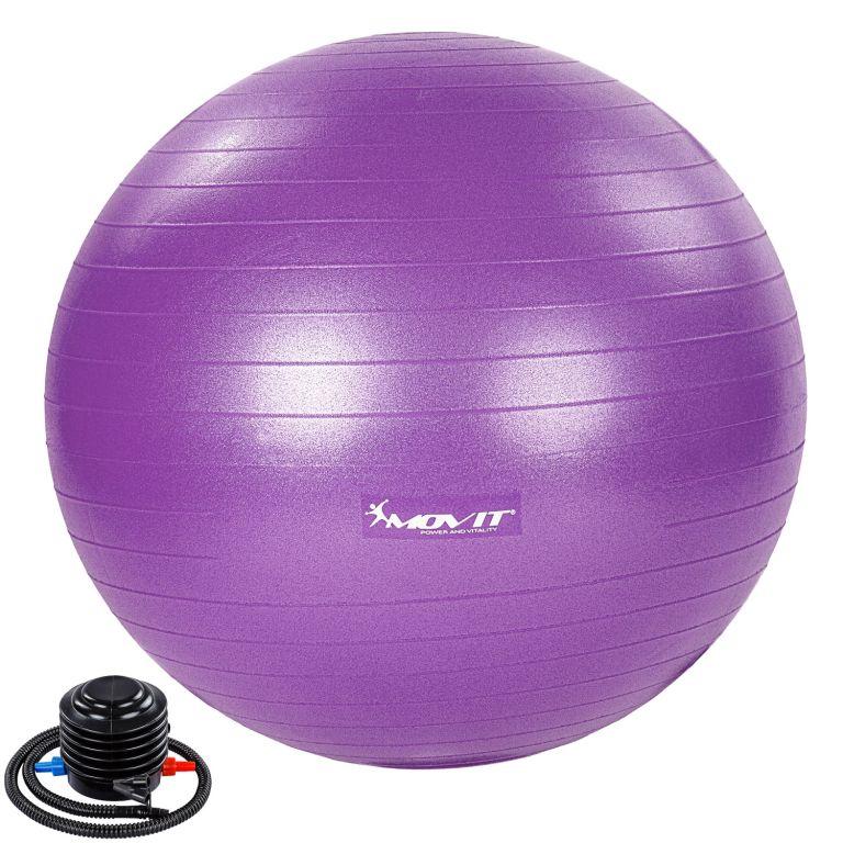 MOVIT Gymnastická lopta s nožnou pumpou, 65 cm, fialová