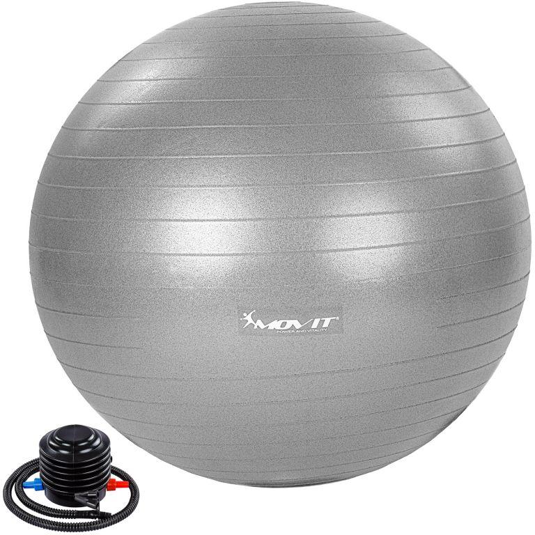 MOVIT Gymnastická lopta s nožnou pumpou, 85 cm, sivá