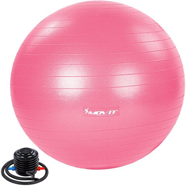 MOVIT Gymnastická lopta s nožnou pumpou, 85 cm, ružová