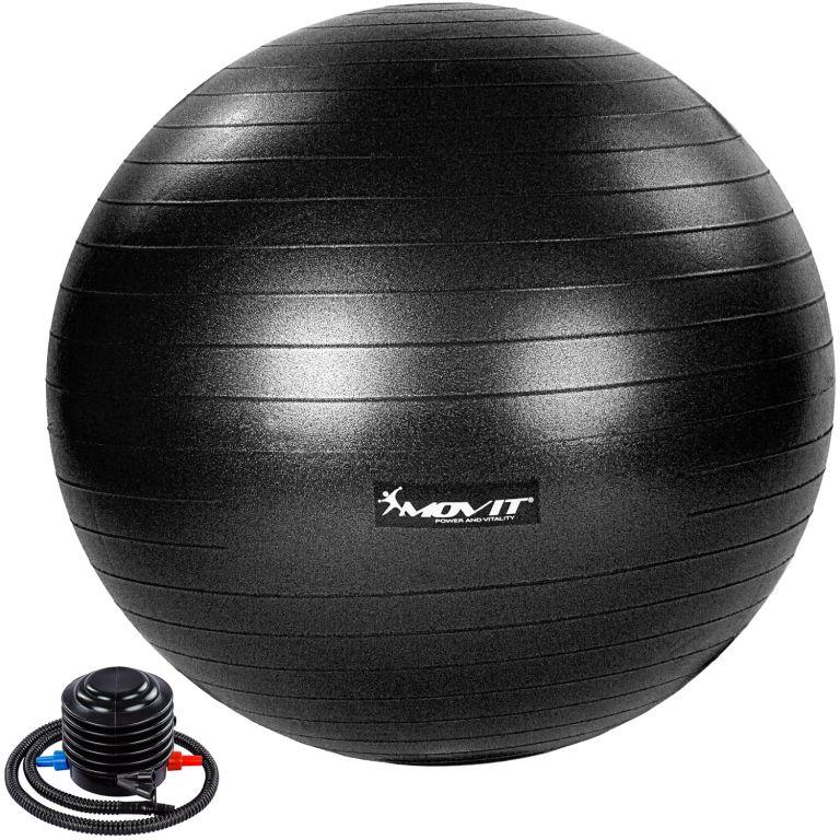 MOVIT Gymnastická lopta s nožnou pumpou, 85 cm, čierna