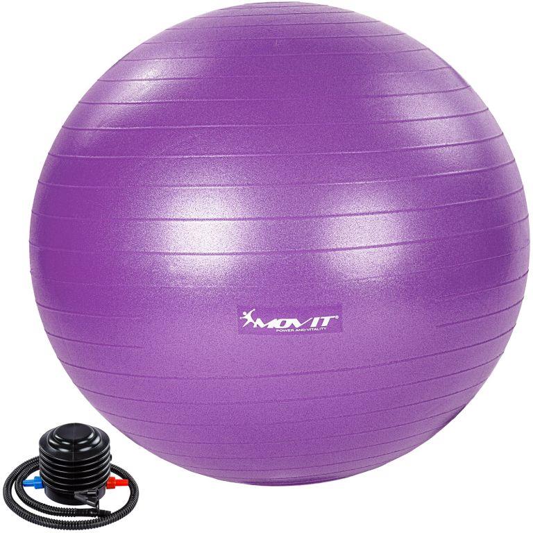 MOVIT Gymnastická lopta s nožnou pumpou, 85 cm, fialová