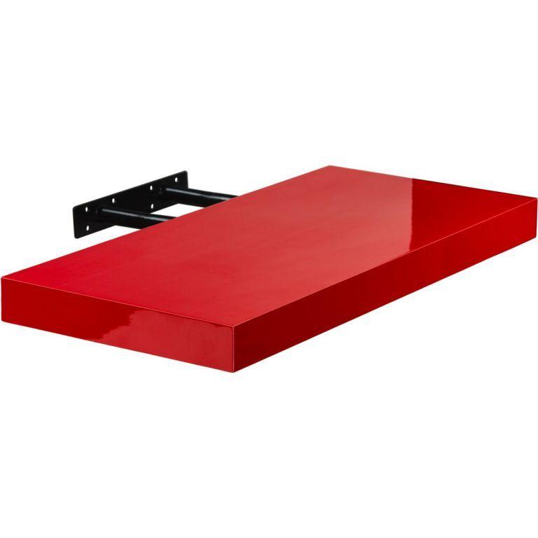 Stilista nástenná polica Volato, 60 cm, lesklá červená
