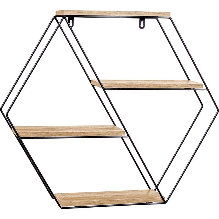 STILISTA Nástenná šesťhranná police, sv. drevo, 51x58x11 cm