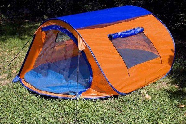 Samorozkladací stan s automatikou - oranžová/modrá