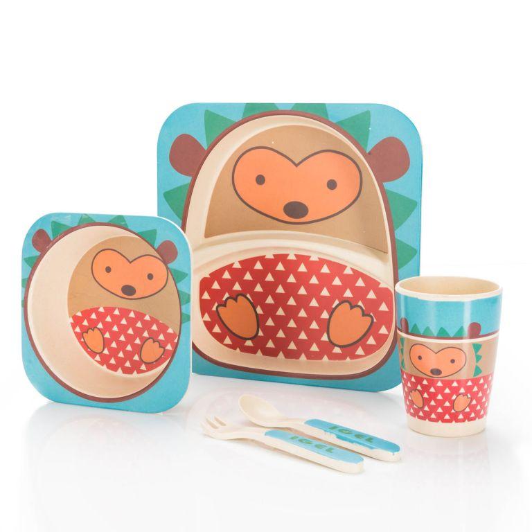 Detská jedálenská súprava z bambusu - ježko