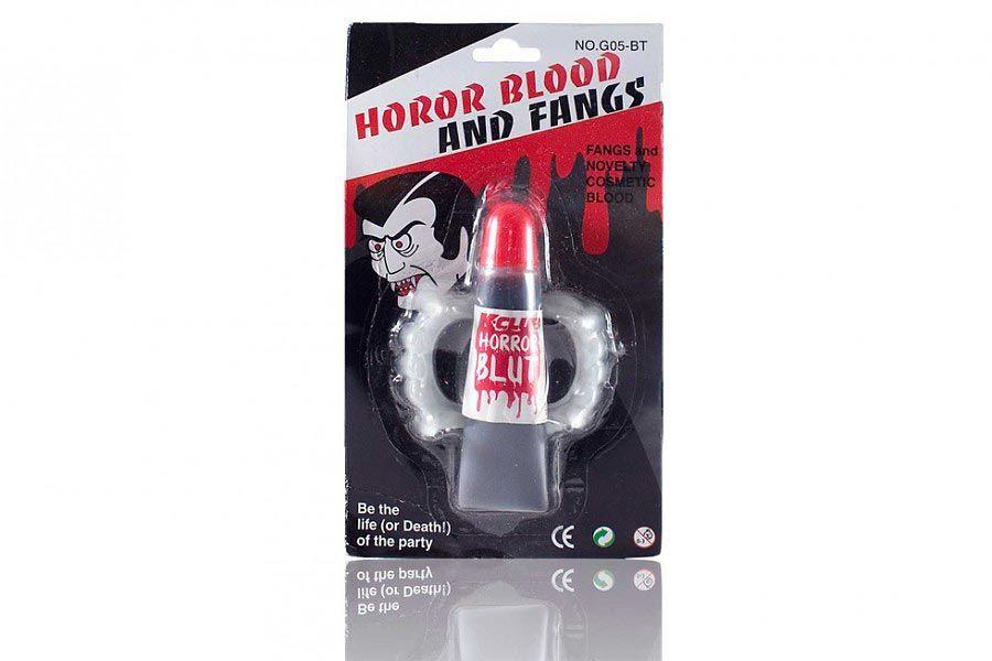 Falošná krv a upírie zuby - halloweensky doplnok