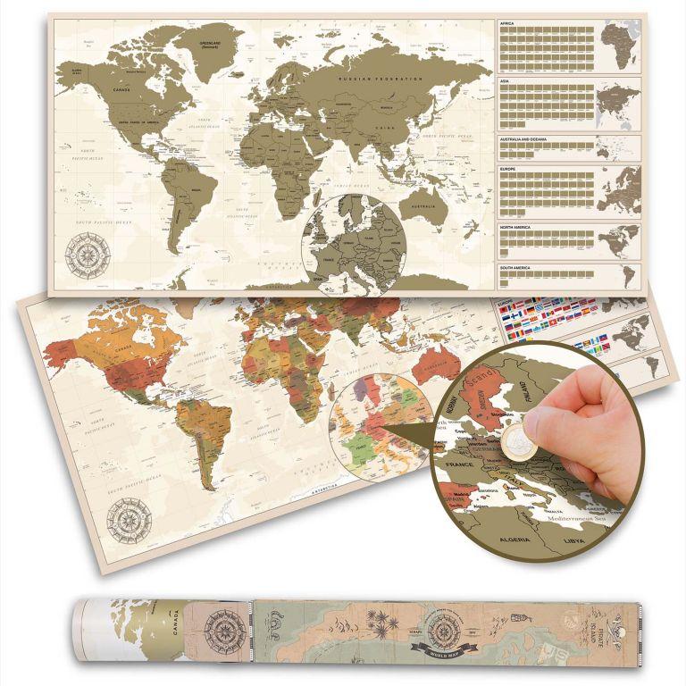 Stieracia mapa sveta v antik vintage štýle - 100 x 45 cm