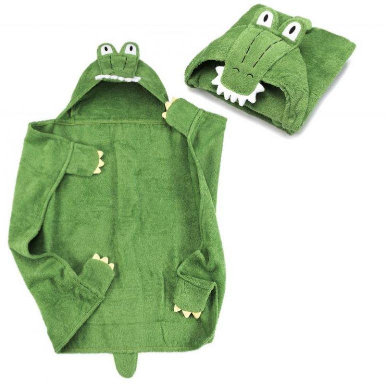 Detská osuška s kapucňou 76 x 76 cm - krokodíl