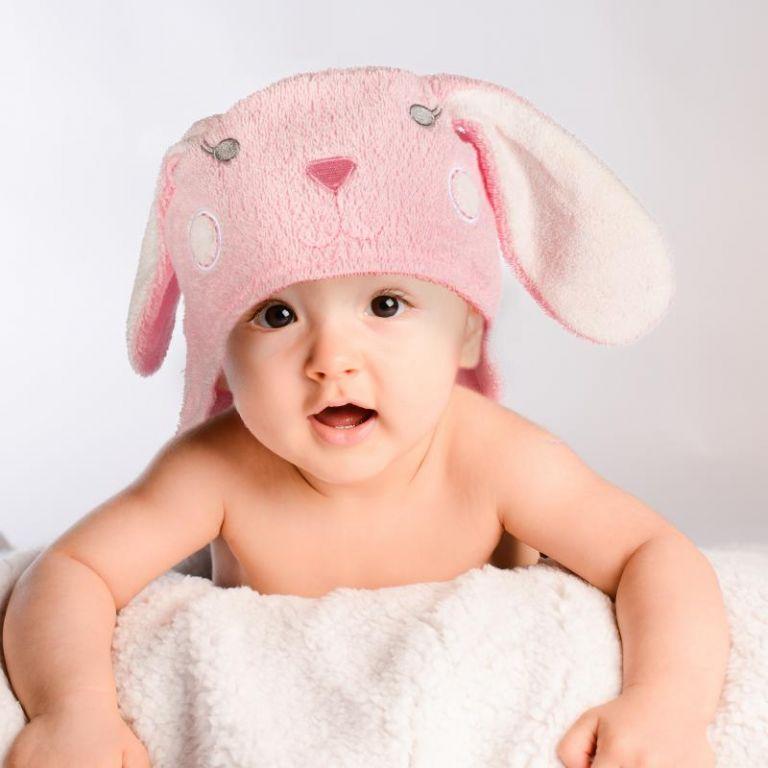 Detská osuška s kapucňou 76 x 76 cm - zajac