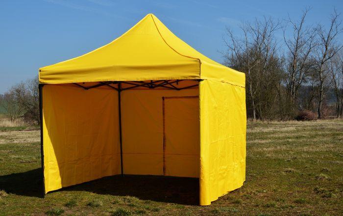 Záhradný párty stan DELUXE nožnicový + bočné steny - 3 x 3 m žltá