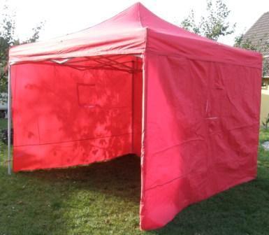 Záhradný párty stan DELUXE nožnicový + bočné steny - 3 x 3 m červená