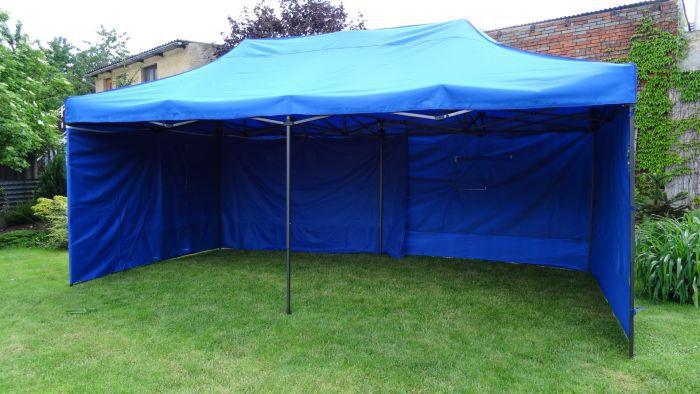 Záhradný párty stan DELUXE nožnicový + bočná stena - 3 x 6 m modrá