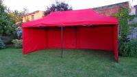 Záhradný párty stan DELUXE nožnicový + bočná stena - 3 x 6 m červená